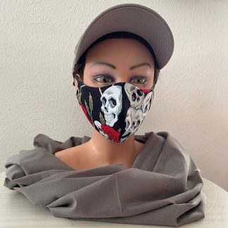 Corona Mundmaske Skulls n Roses dunkel